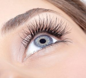 Øje med perfekte naturlige øjenvipper