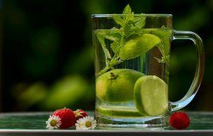 Vandglas med limeskiver og frisk mynte